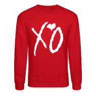 Long Sleeve Shirts ~ Crewneck Sweatshirt ~ CREW Love- XO Alternative Red