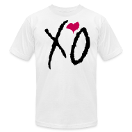 T-Shirts ~ Men's T-Shirt by American Apparel ~ XO Alternative Color Tee- (Black XO w/ Pink Heart on White)