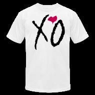 T-Shirts ~ Men's T-Shirt by American Apparel ~ XO Alternative Color Tee- (Black XO w/ Pink Heart on White)