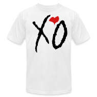 T-Shirts ~ Men's T-Shirt by American Apparel ~ XO Alternative Color Tee- (Black XO w/ Red Heart)