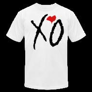 T-Shirts ~ Men's T-Shirt by American Apparel ~ XO Alternative Color Tee- (Black XO w/ Red Heart)