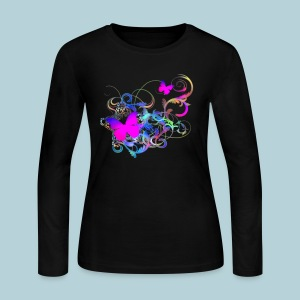 Butterfly Swirl - Women's Long Sleeve Jersey T-Shirt