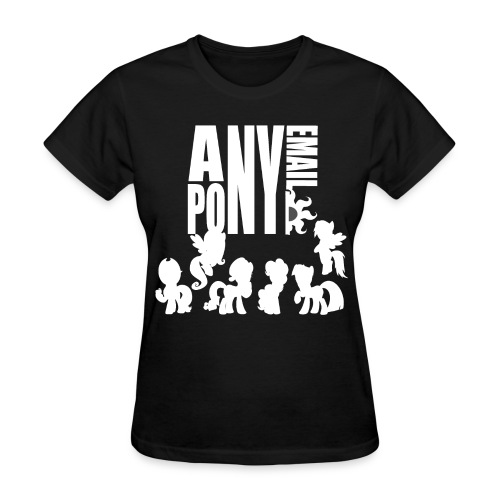 Anypony Email - Design 1 (White) - Women's T-Shirt