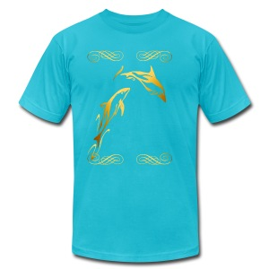 Two Gold Dophins framed - Men's T-Shirt by American Apparel