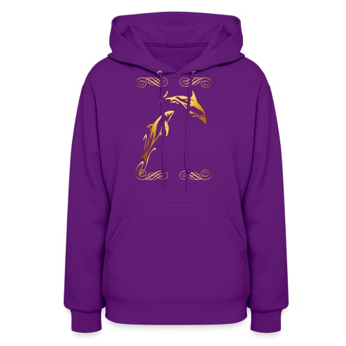 Two Gold Dophins framed - Women's Hoodie