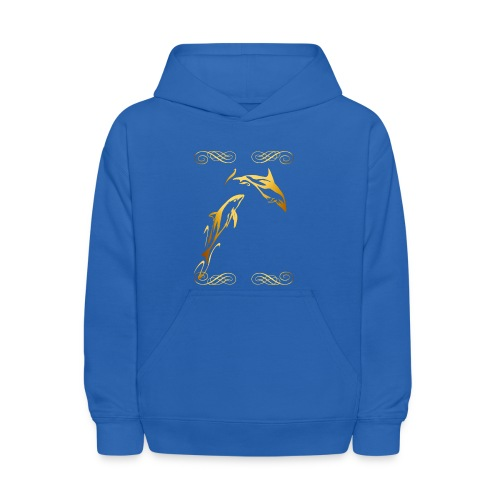 Two Gold Dophins framed - Kids' Hoodie