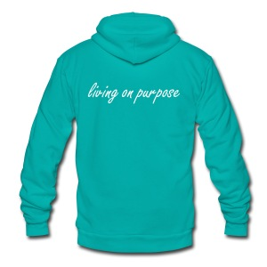 Women's Living On Purpose Hooded Zipper Hoodie - Unisex Fleece Zip Hoodie by American Apparel