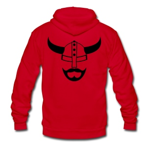 Black Viking Beard Hoodie - Unisex Fleece Zip Hoodie by American Apparel