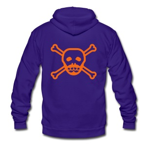 Red Skull Beard Hoodie - Unisex Fleece Zip Hoodie by American Apparel