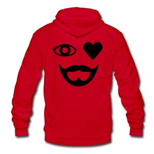 Black Eye Heart Beard Hoodie - Unisex Fleece Zip Hoodie by American Apparel