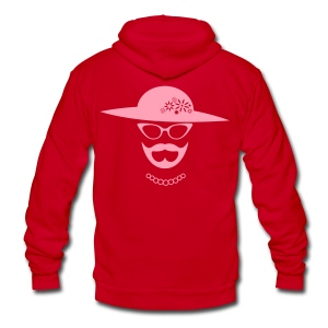 Pink Bearded Lady Hoodie - Unisex Fleece Zip Hoodie by American Apparel