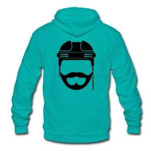 Black Hockey Beard Hoodie - Unisex Fleece Zip Hoodie by American Apparel