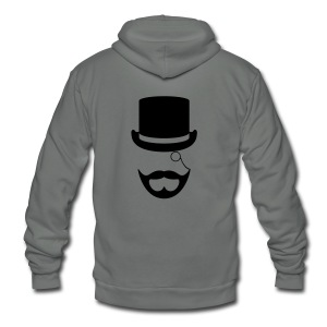Black Gentlemen's Beard Hoodie - Unisex Fleece Zip Hoodie by American Apparel