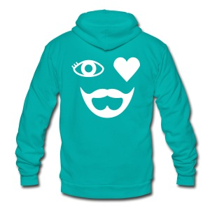 White Eye Heart Beard Hoodie - Unisex Fleece Zip Hoodie by American Apparel