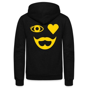 Blonde Eye Heart Beard Hoodie - Unisex Fleece Zip Hoodie by American Apparel