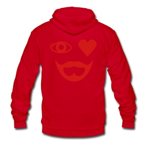 Red Eye Heart Beard Hoodie - Unisex Fleece Zip Hoodie by American Apparel