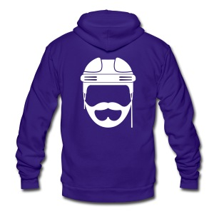 White Hockey Beard Hoodie - Unisex Fleece Zip Hoodie by American Apparel