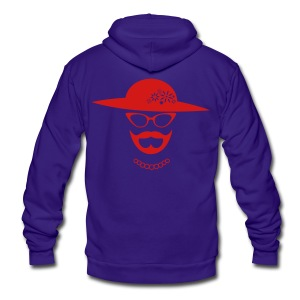Red Bearded Lady Hoodie - Unisex Fleece Zip Hoodie by American Apparel