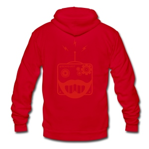 Red Beardbot Hoodie - Unisex Fleece Zip Hoodie by American Apparel
