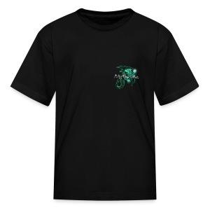 Mythruna World Back (blue text) - Kid's - Kids' T-Shirt