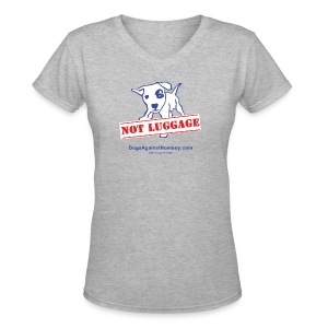 Official Dogs Against Romney NOT LUGGAGE Women's V-neck Tee - Women's V-Neck T-Shirt
