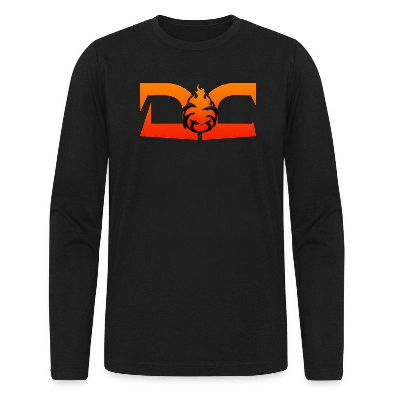 MENS LONG SLEEVE: DotaCinema red logo black T-Shirt | DotaCinema