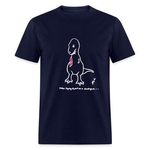 T-Rex Cardigan White Design (Basic Tee) - Men's T-Shirt