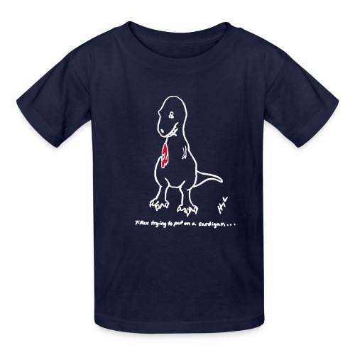 T-Rex Cardigan White Design (Kids) - Kids' T-Shirt