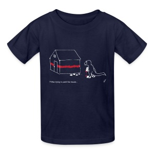 T-Rex Painting House White Design (Kids) - Kids' T-Shirt