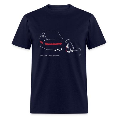 T-Rex Painting House White Design (Basic Tee) - Men's T-Shirt