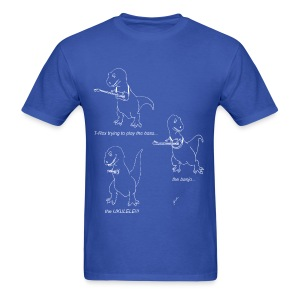 T-Rex Trying Ukulele White Design (Basic Tee) - Men's T-Shirt