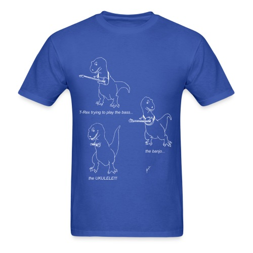 T-Rex Trying Ukulele White Design (Basic Tee) - Men's T-Shirt