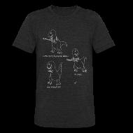 T-Shirts ~ Unisex Tri-Blend T-Shirt ~ T-Rex Trying Ukulele White Design (Am Apparel)