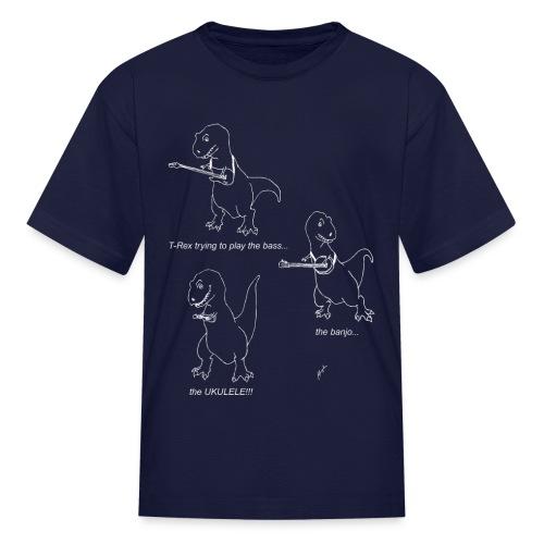 T-Rex Ukulele White Design (Kid's) - Kids' T-Shirt