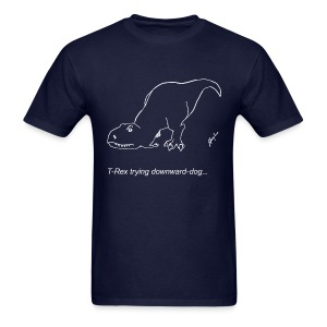 T-Rex Down Dog White Design (Basic Tee) - Men's T-Shirt