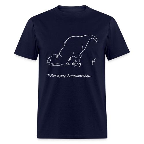 T-Rex Down Dog White Design (Basic Tee) - Men's T-Shirt