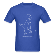 T-Shirts ~ Men's T-Shirt ~ T-Rex Flossing White Design (Basic Tee)