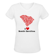 T-Shirts ~ Women's V-Neck T-Shirt ~ I Love Alabama V-Neck