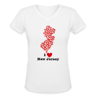 T-Shirts ~ Women's V-Neck T-Shirt ~ I Love New Jersey V-Neck