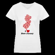 Women's T-Shirts ~ Women's V-Neck T-Shirt ~ I Love New Jersey V-Neck
