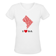 T-Shirts ~ Women's V-Neck T-Shirt ~ I Love D.C. V-Neck