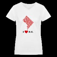 Women's T-Shirts ~ Women's V-Neck T-Shirt ~ I Love D.C. V-Neck