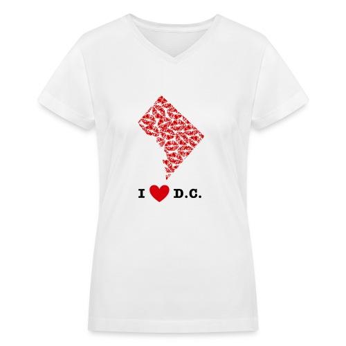 I Love D.C. V-Neck - Women's V-Neck T-Shirt