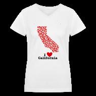 T-Shirts ~ Women's V-Neck T-Shirt ~ I Love California V-Neck