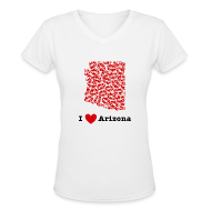 T-Shirts ~ Women's V-Neck T-Shirt ~ I Love Arizona V-Neck