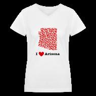 Women's T-Shirts ~ Women's V-Neck T-Shirt ~ I Love Arizona V-Neck