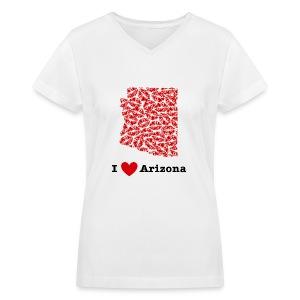 I Love Arizona V-Neck - Women's V-Neck T-Shirt
