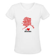 T-Shirts ~ Women's V-Neck T-Shirt ~ I Love Alaska V-Neck