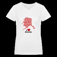 Women's T-Shirts ~ Women's V-Neck T-Shirt ~ I Love Alaska V-Neck