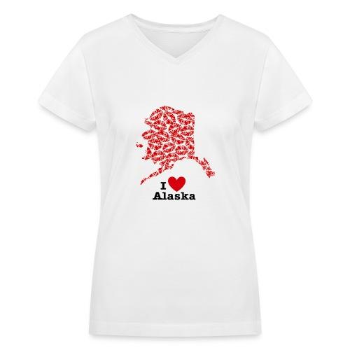 I Love Alaska V-Neck - Women's V-Neck T-Shirt